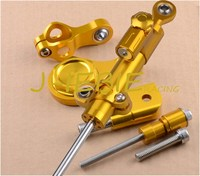 CNC Steering Damper Stabilizer and Gold Bracket Mounting For Yamaha YZF R6 2006 2016 2007 2008 2013 R1 2009 2012 2010 2011