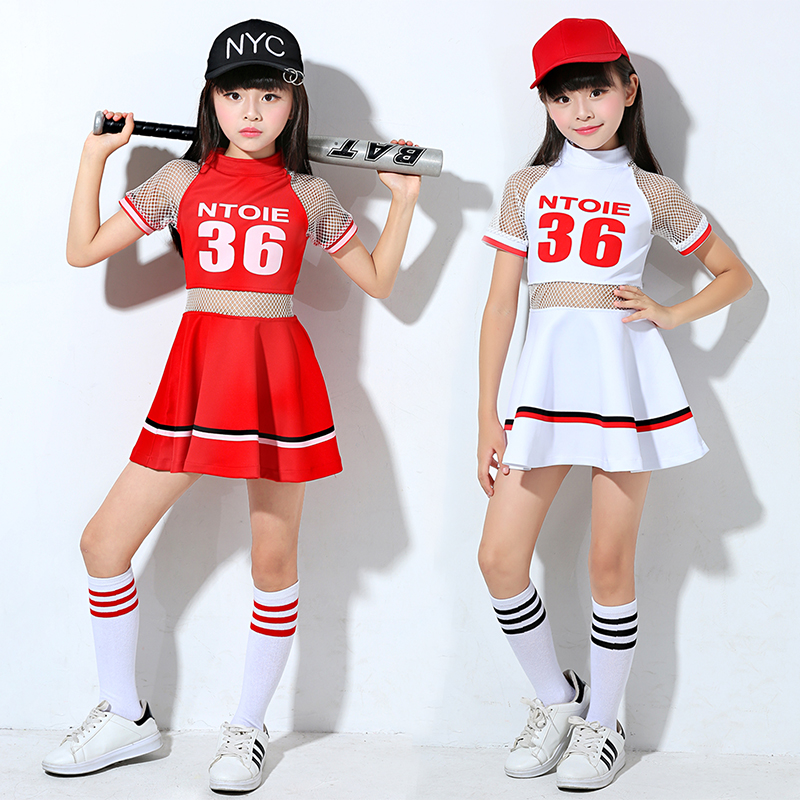 Songyuexia Cheerleading Costume Girls Dance And Gonggong Costume Red Suit White Dress Children Cheerleading Costume Girls