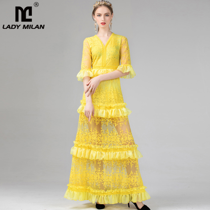 Lady Milan 2019 Women s Sexy V Neck 3 4 Sleeves Embroidery Lace Tired Ruffles Party