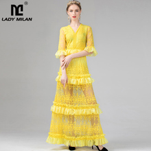 Lady Milan 2019 Womens Sexy V Neck 3/4 Sleeves Embroidery Lace Tired Ruffles Party Prom Elegant Long Runway Dresses