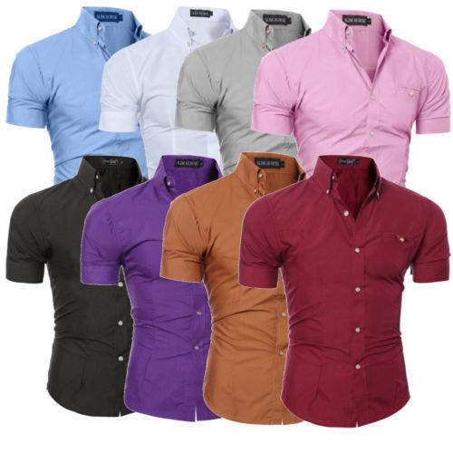 Men fashion luxury casual slim fit business dress shirts short sleeve shirt tops