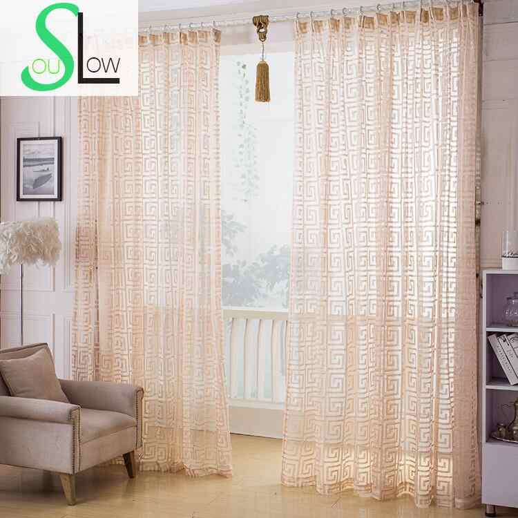 Slow Soul Light Orange Curtains Curtain Europe Geometric Tulle For Living  Room Kitchen Bedroom Sheer Luxury Ventilation Blinds