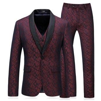 Autumn New Men's Single Button Casual Suit Set Three-piece Suit Business Gentleman Suit Groom Wedding Dress Set