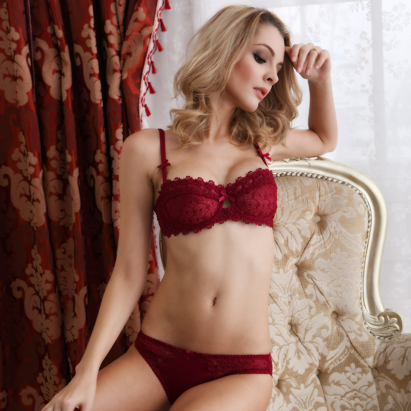 99f77de3e7 Newset Very Sexy Women Half Cup Lace Bra + Briefs Plus Size Ultra thin Sexy  Plunge Bra Sets A B C Cup Free Shipping 32 42CD-in Bra   Brief Sets from ...
