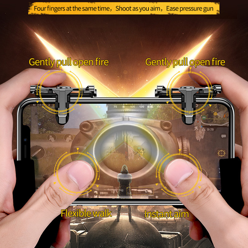 Mobile Phone Four Finger Fire Aim Button Gun Trigger Joystick For Xiaomi L1 R1 Shooter Controller Metal Key PUBG Game Gamepad(China)