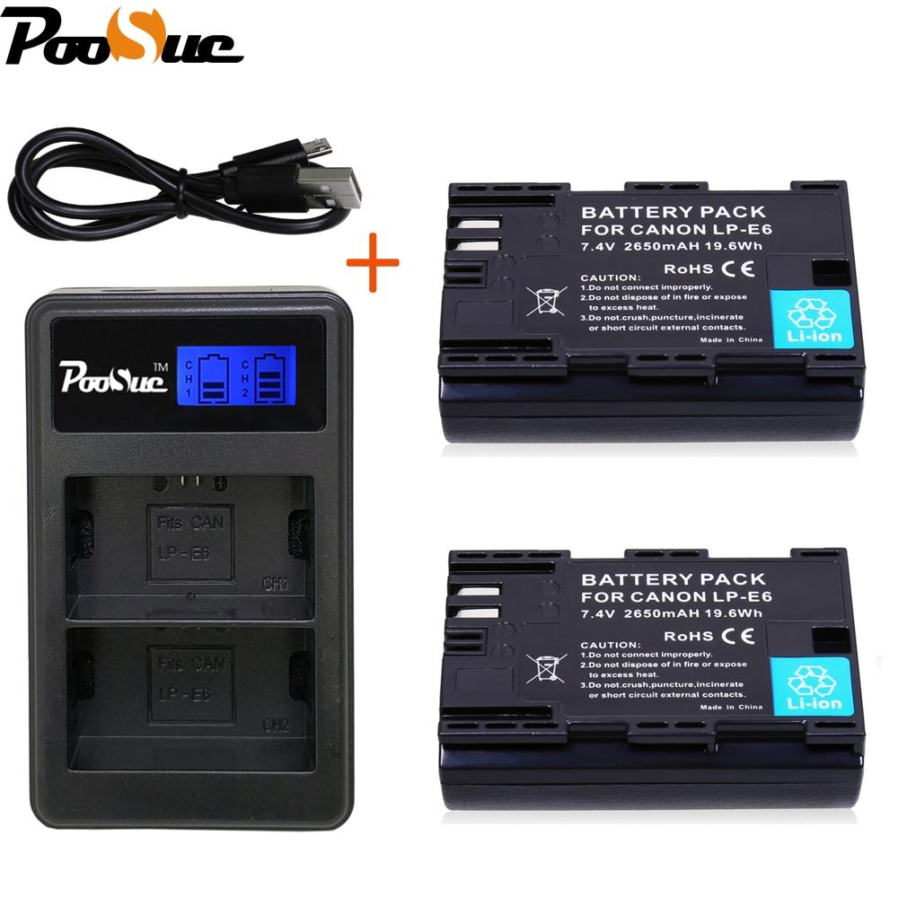 2x LP-E6 LP E6 Bateria LP-E6N Japão Sanyo Celular + LEVOU Carregador Dual USB para Canon EOS 5DS 5DSR 5D Mark II 5D 6D 7D 60D 60Da 70D 80D