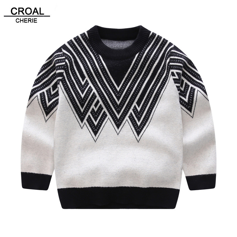 e68876ad7 CROAL CHERIE 80-130 Kids Boys Baby Clothes O-Neck Warm Sweater Children  Toddler Pattern Pullovers Winter Autumn Knit Clothing