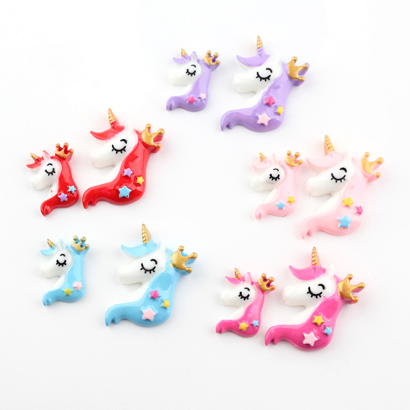 5pcs lot Resin unicorn Decoration Crafts Kawaii Flatback Cabochon Embellishments For Scrapbooking DIY Accessories Butto in Modeling Clay from Toys Hobbies