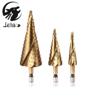 3pcs Hex Hss High Speed Steel Titanium Coated Spiral Grooved Step Drill Bits Set Cone Drill