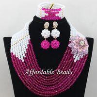 White Porcelain Fuschia Bridal Party Jewelry Set Pretty Dubai Gold Jewelry Set Handmade Design Wholesale Free