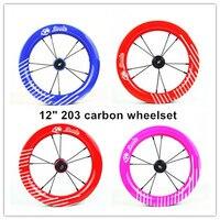 ZOOLE 12inch 203 Carbon Wheel Children Balance Bicycle Carbon Wheelset for 12 Kids's Push Bike Strider/puky/kokua Walk 238g