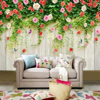 Custom Any Size 3d Mural Wallpaper Modern Wood Board Flowers Wall Painting Living Room Tv Sofa Backdrop Wall Home Decor Frescoes