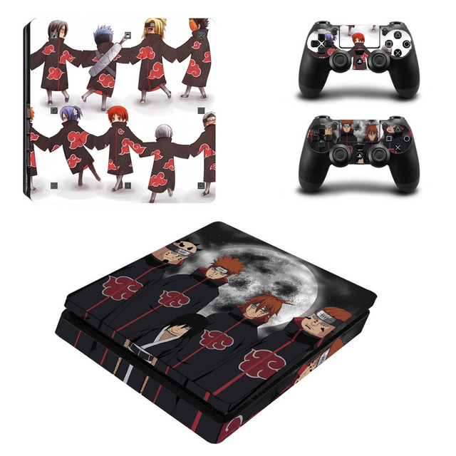Naruto vinil decalque para ps4 pele fina adesivos envoltório para sony playstation 4 magro console com 2 controladores peles