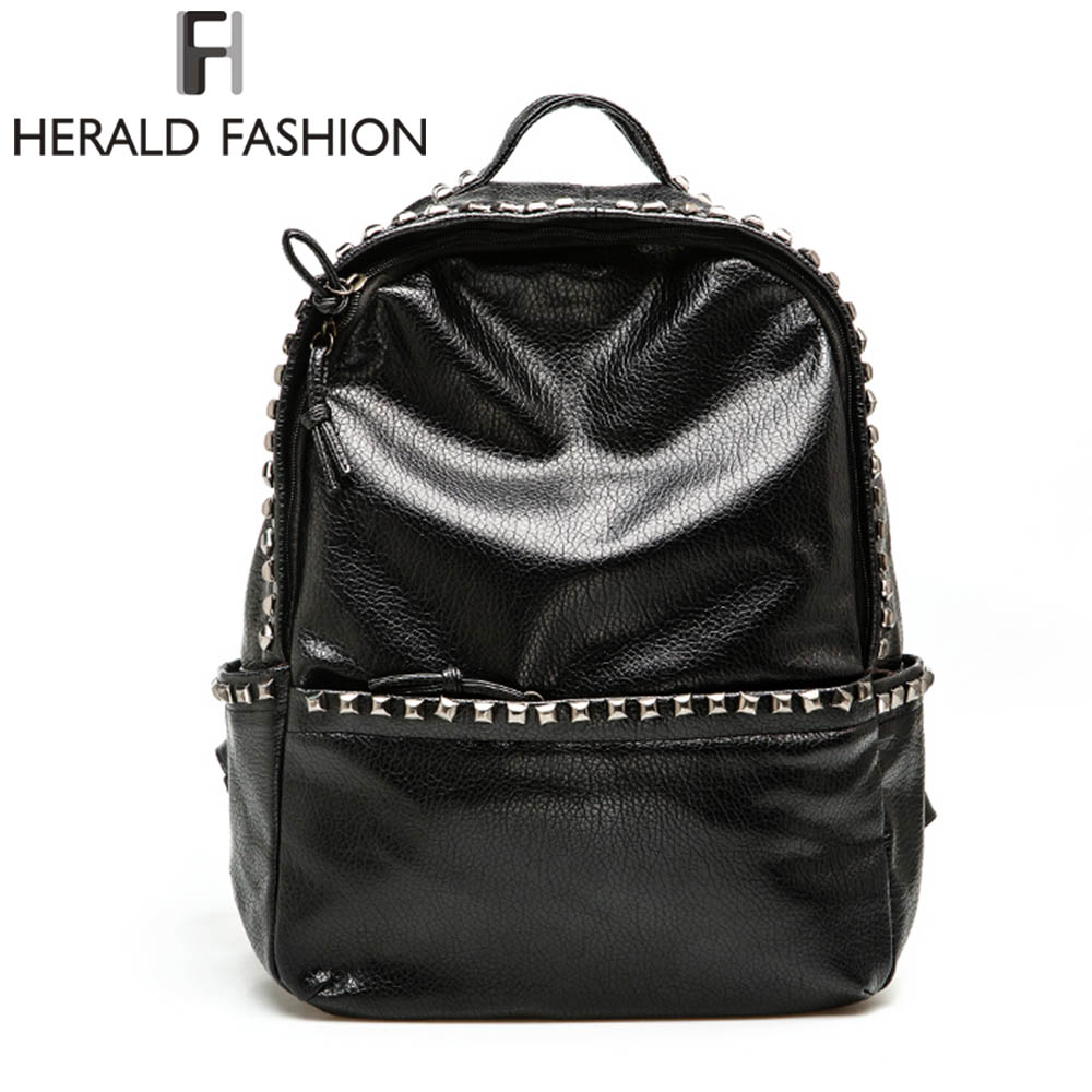 Herald Fashion Rivet Backpack Female Black Soft Washed PU Leather Bags Shoulder Schoolbag Backpack For Teenage Girls Travel Bag 2016 fashion women backpacks rivet soft sheepskin leather bags shoulder for teenage girls female travel bag free gift