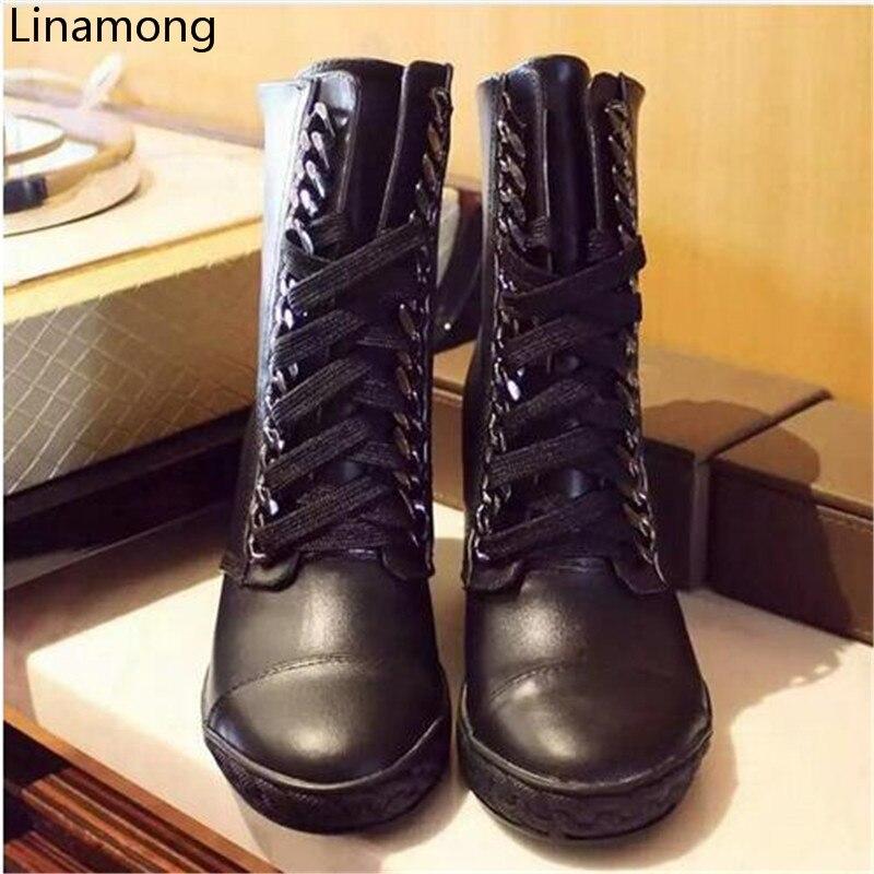 2017 botas cortas de otoño para mujer, zapatos de ocio con cordones, botas de tobillo para mujer-in Botas hasta el tobillo from zapatos    1