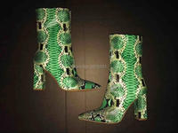 Best Quality Green Snake Ankle Bootie Women Chunky High Heel Pumps Pointed Toe Unique Shoes