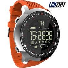 Lokmat mk18 relógio inteligente esporte lcd pedômetros à prova dwaterproof água lembrete mensagem bt natação homem smartwatch cronômetro para ios android