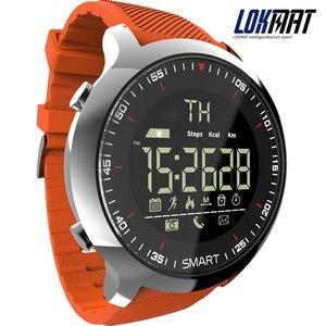 Image 1 - Lokmat reloj inteligente MK18 para hombre, dispositivo deportivo con pantalla LCD, resistente al agua, podómetros, mensajes, recordatorios, Bluetooth, natación, cronómetro para ios y Android