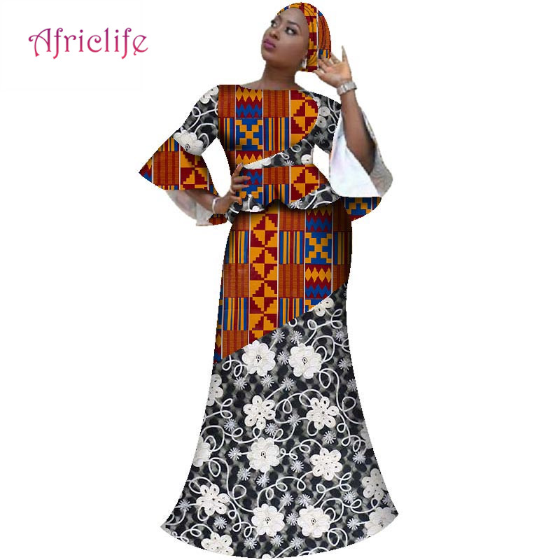 New Bazin African Splice Lace Dresses for Women 2019 Party Plus Size Women African Clothing Top and Skirt Sets Vestidos WY2715