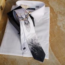 Gravata de pescoço estampada original, gravata masculina casual feita à mão para festa de casamento, aniversário, gravata única, fantasia ocidental