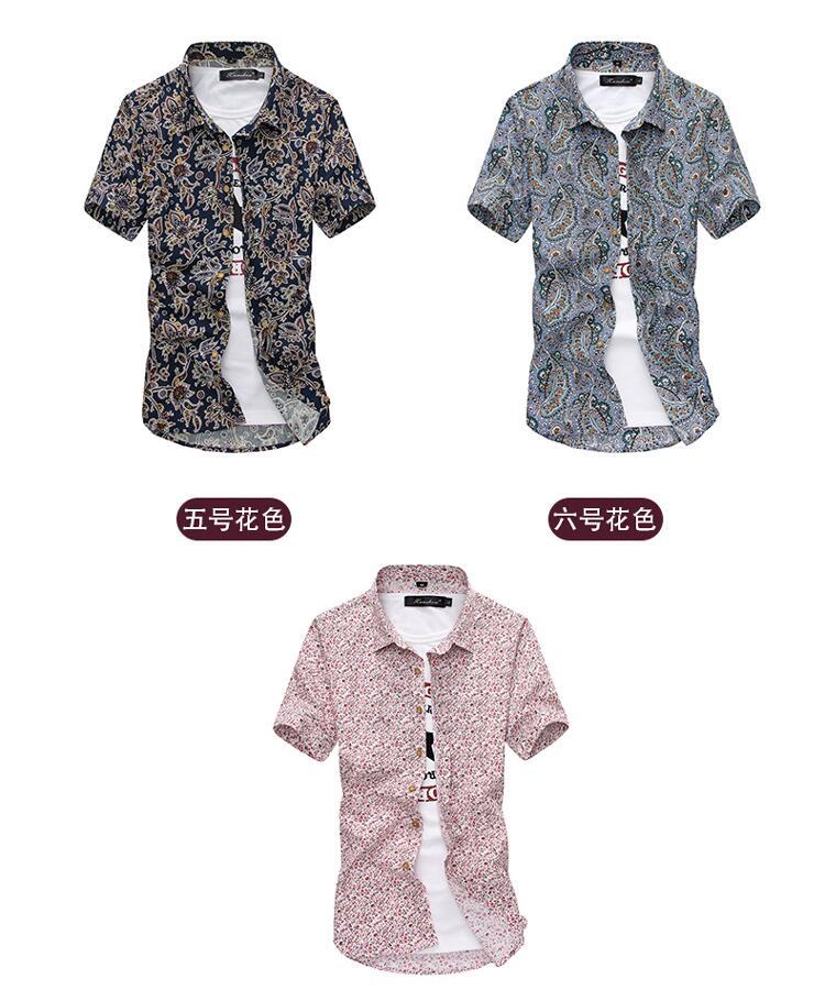 Men Summer Thin Shirts Short Sleeve Floral Shirts New Fashion Men Outwear Casual Slim Shirts Mens Cotton dress shirts 7