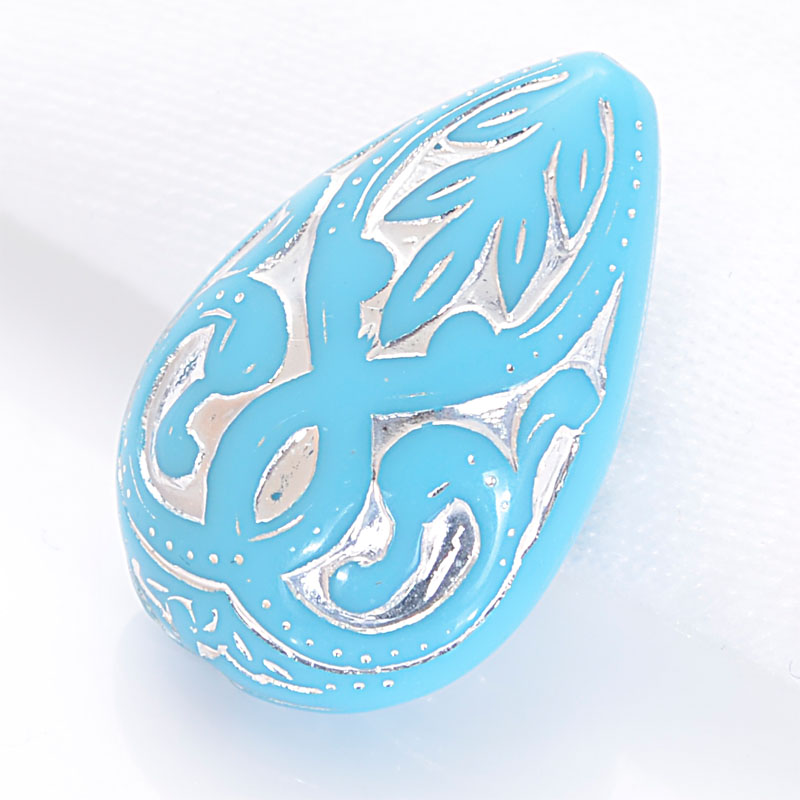 30Pcs 27*18*11 MM Vintage Inspired Ethnic Acrylic Antique Style Design Teardrop Waterdrop Beads For Diy Bracelet Jewelry Making