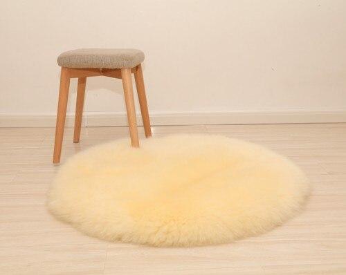 Натуральный коврик из овечьего меха лохматый коврик для стула, большой размер круглая подушка для сиденья, мех кофе Ковер Напольный коврик, зимний теплый коврик - Цвет: cream