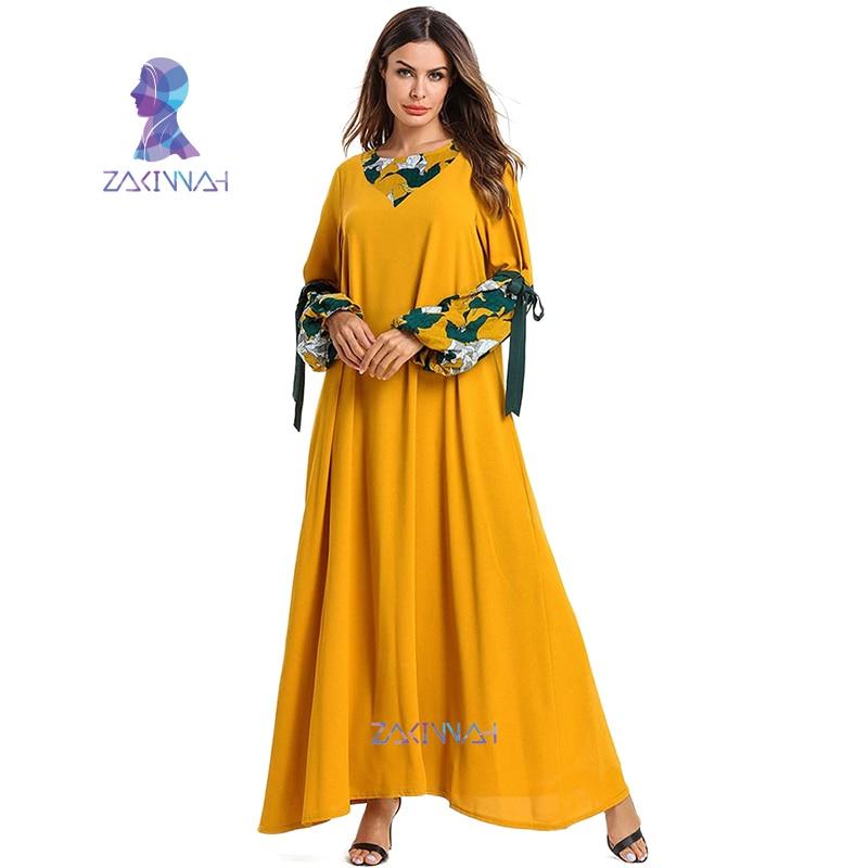 7544 mode impression à manches longues femmes musulmanes Abaya dubaï turc porter islamique moyen-orient glace soie crêpe longue robe