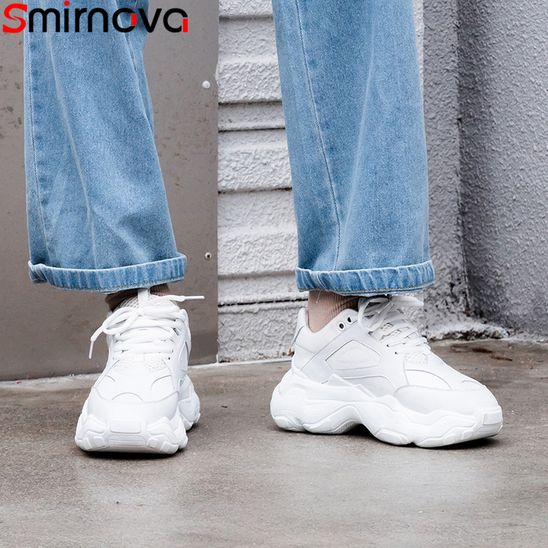 Smirnova big size 35 42 fashion new sneakers women round toe lace up genuine leather shoes Casual flats women 2019-in Women's Flats from Shoes    1