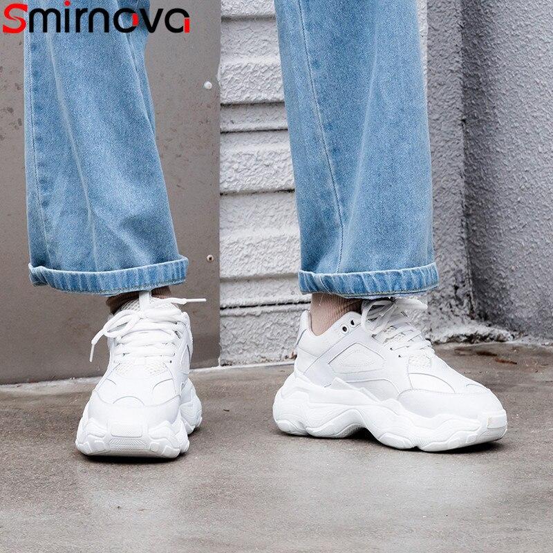 Smirnova grande taille 35-42 mode nouvelles baskets femmes bout rond à lacets en cuir véritable chaussures décontracté appartements femmes 2019