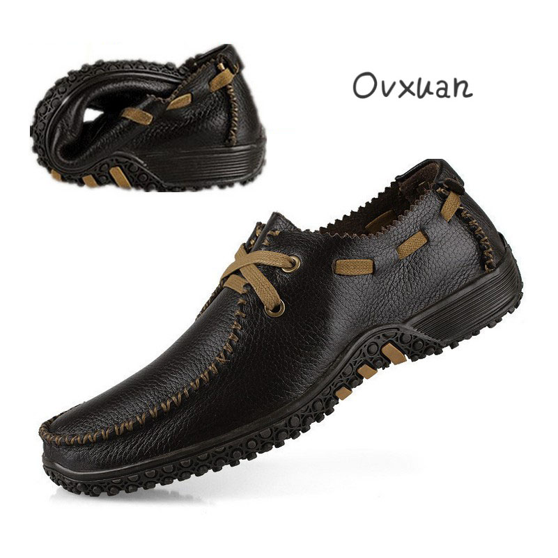 Ovxuan Genuine Leather Men Shoes Fashion Mens Dress Shoes Comfortable Casual  Men Flats Loafers Shoes Soft 4b9f3a387898