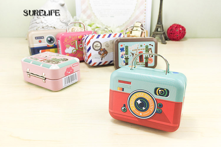 5pcs/lot new vintage small suitcase storage tin candy box organizer for coin earring buttonjewelry tin boxes gift storage boxes