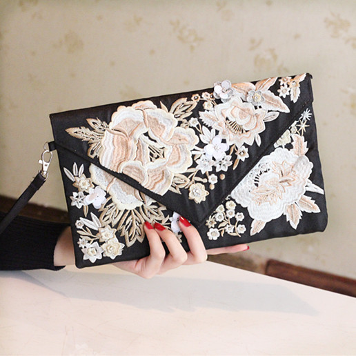 2016 women's handbag embroidered elegant day clutch bag evening bag cheongsam bag small message bag