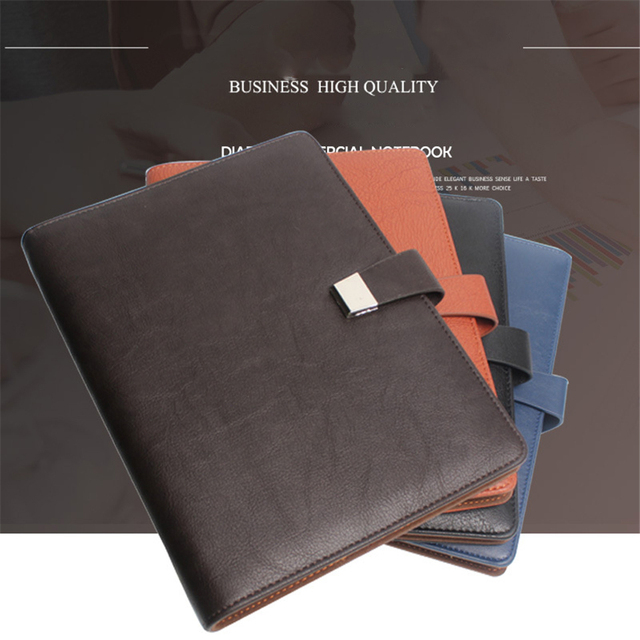A5 Spiral Notebooks Black Notepad Business Organizer And Journals Agenda Dotted Pages Lined Leather Stationery For men