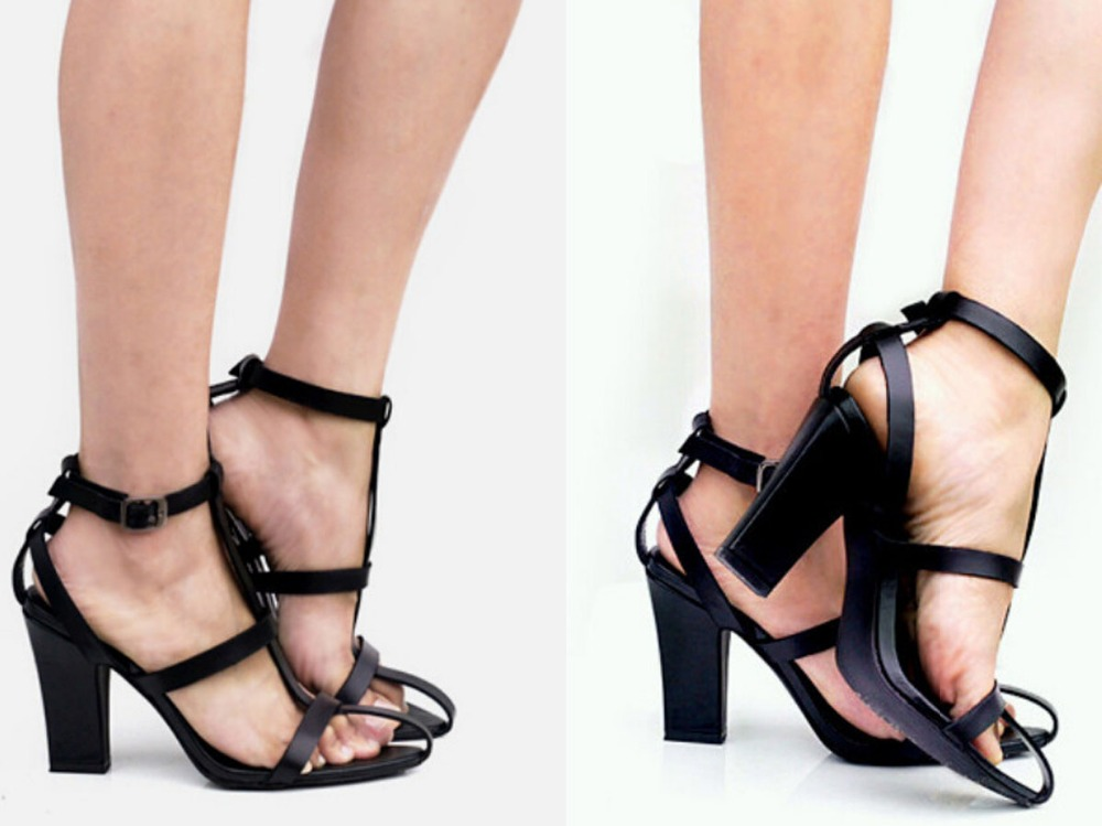 Unique Design Summer Fashion Cut-outs High Heel Sandals Sexy Women Ankle Square heels Gladiator Sandals Sexy Black Shoes summer fashion strange heel woman sexy pumps golden cut outs heel design cool sandals high heels platform heels party shoes
