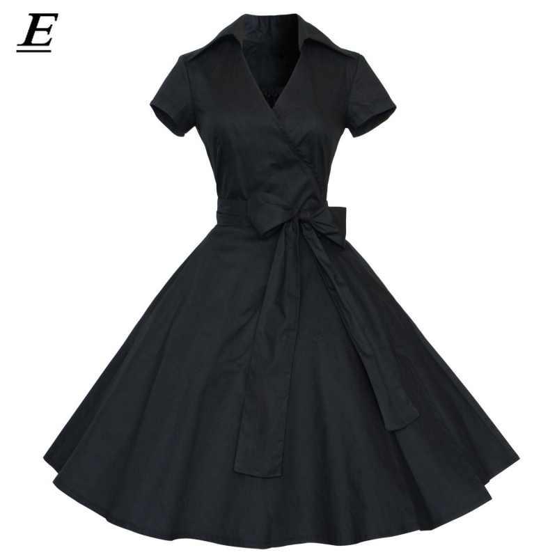2020 레드 파티 드레스 여성 여름 빅 스윙 60s 50s 로커 빌리 로브 빈티지 핀 드레스 벨트 플러스 사이즈 로브 펨므