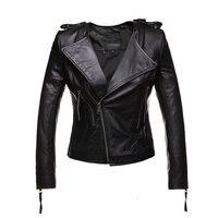 Genuine Leather Jacket Women Sheepskin Fashion Zipper Turn Down Collar Jaqueta De Couro Womens Coats And
