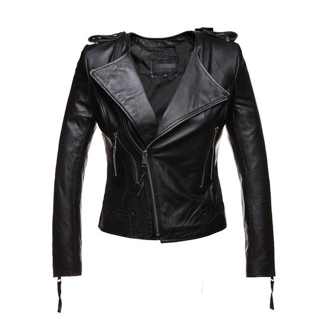 Mulheres Jaqueta de Pele De Carneiro Couro genuíno moda Zipper turn-down collar Jaqueta De Couro Mulheres Casacos E Jaquetas de Inverno 2016