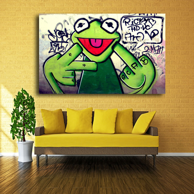 2017 Street Frog Kermit Finger Graffiti Art Canvas Painting Banksy ...