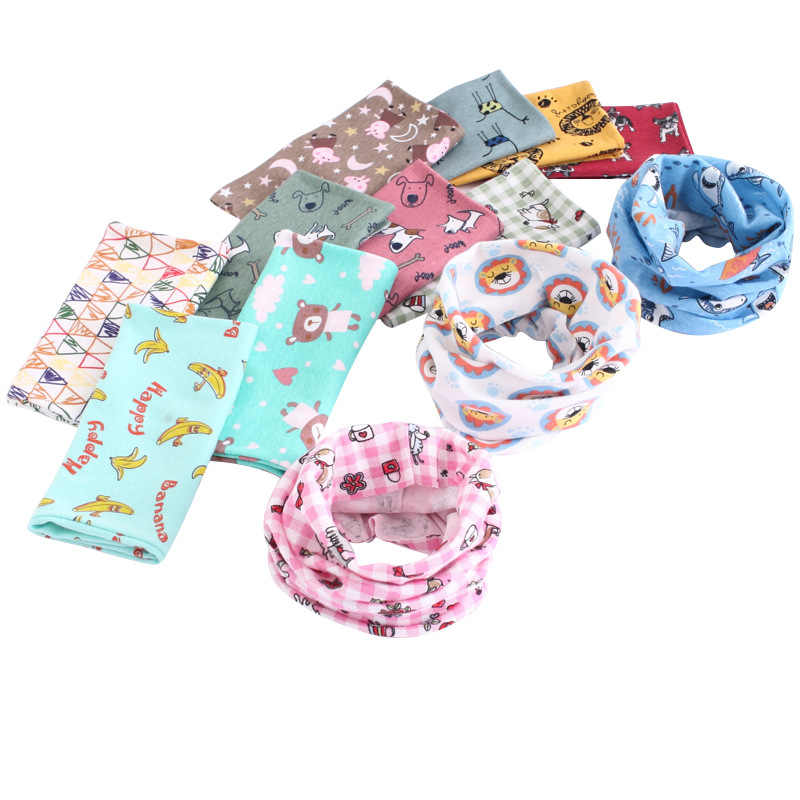 Novo cão dos desenhos animados do gato do coelho porco anel o frete final do inverno outono bebê cachecol crianças colarinho moda nekerchief acessórios lenços