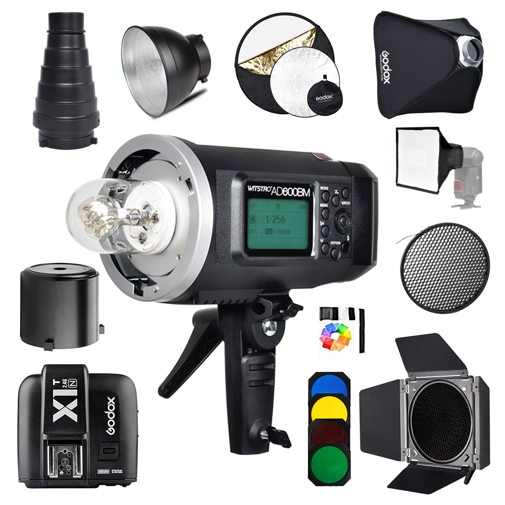 Godox AD600BM 600Ws GN87 Photo Flash Strobe Studio Bowens Mount HSS 1/8000 Outdoor+X1T-N Wireless Trigger for Nikon godox ad600bm 600w hss gn87 bowens mount flash light or ad600bm x1t c transmitter trigger for canon