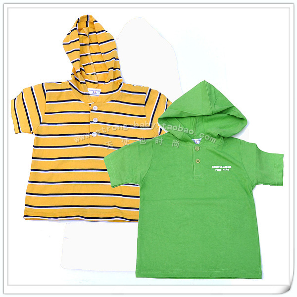 Children's clothing children with a hood 100% short-sleeve cotton short-sleeve