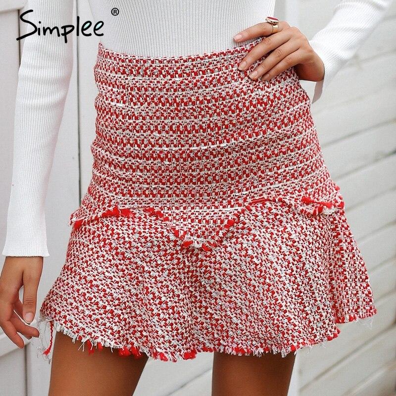 Simplee Sexy A-line red tweed mini skirt Elegant ruffles short women skirt Autumn winter high waist skirt female 2018 streetwear