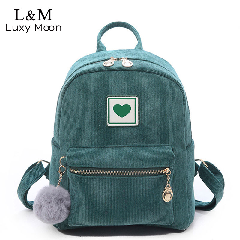 Fashion Women Backpacks Schoolbags Shoulder Bag Cute Hairball Corduroy Backpack Female Zipper Bags For Girls Mochila New XA265H