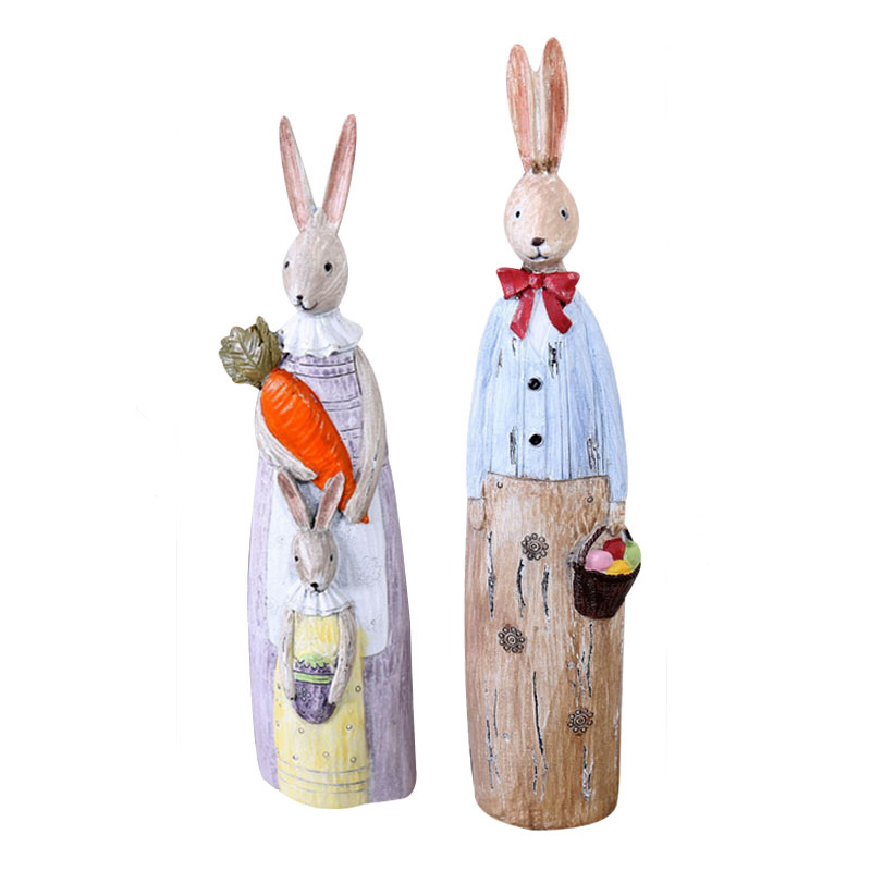 New Creative Resin Couple Rabbit Ornaments Miniature Resin Desktop Crafts Old Imitation Woodcarving Decor Household Gifts Crafts