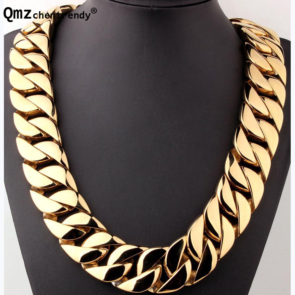 Real Stainless Steel Gold 31MM Super Heavy Thick Mens Flat Curb Cuban Chain Necklaces Hip hop Exaggerated Necklace