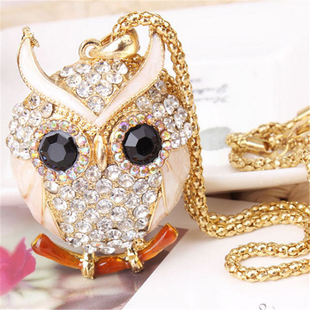 LNRRABC Women Sweater Chain Necklace Owl Design Rhinestones Crystal Pendant Necklaces Jewelry Clothing Accessories Drop Shipping 3