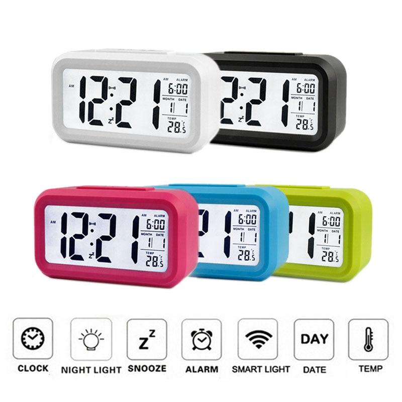 Digital Backlight LED Display Table Desk Alarm Clock Snooze Thermometer Calendar
