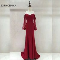 New Arrival Long sleeve burgundy Evening dresses 2018 Mermaid evening dress Plus size vestido de festa abendkleider Evening gown