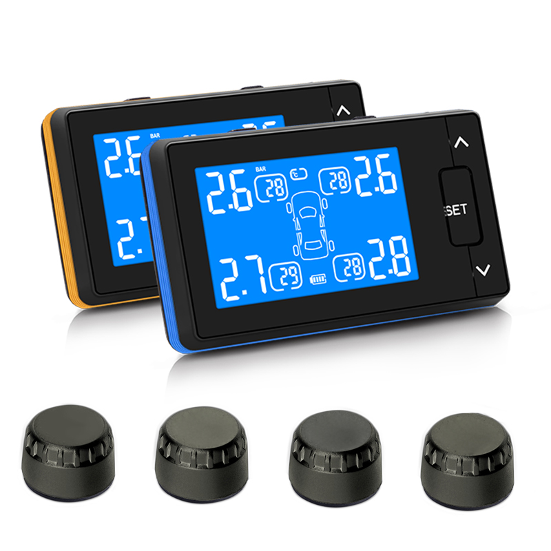 Car Wireless TPMS Tire Pressure Monitoring System with 4 External Replaceable Battery Sensors LCD Display